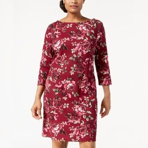 Karen Scott Rose Printed Boat-Neck Dress
